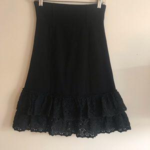 Betsy Johnson body con skirt with ruffle bottom